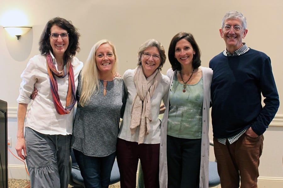 Photo of Laury Salignan, Louisa Schibli, Janice StOnge, Deb Nelson, and Joel Solomon at VT WIN training.